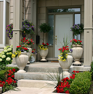 Novel ideas with artificial plants in your business or for Decorating outdoor entryways