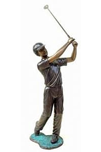 Swinging Boy Golfer Garden Statue