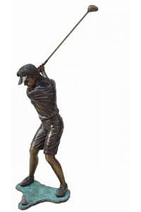Swinging Girl Golfer Garden Statue