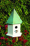 Copper Songbird Bird House - White with Verdi Copper Roof