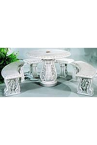 Grape Leaf Curved Bench & Umbrella Table