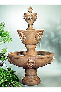 Large 3-Tiered Lion Head Water Fountain