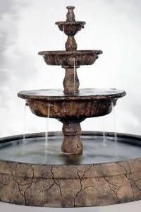 Triple Tazza Tier Outdoor Water Fountain in Europa Pool