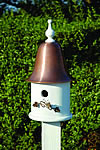 Ivy House Bird House - White with Spun Copper Roof