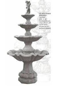 Four-Tiered Estate Water Fountain, Pool opt.