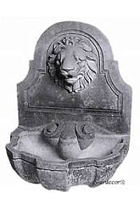 Lion Wall Water Fountain w/ Bowl, Cast stone