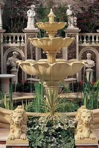 Lotus 3-Tiered Outdoor Water Fountain