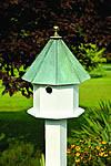 Oct-Avian Bird House - White with Verdi Copper Roof