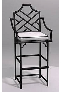 Chinese Chippendale Barstool with Arms