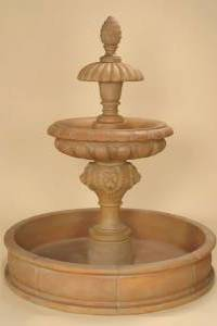 Piloni 2-Tier Pond Outdoor Concrete Water Fountain