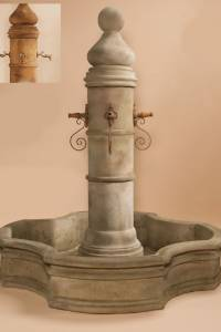 Ventoux Pond Water Fountain with Monaco Pond for Rustic Spouts