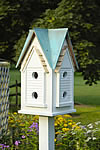 Victorian Mansion Bird House - White with Verdi Copper Roof