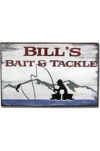Personalized Bait and Tackle Sign - Wood