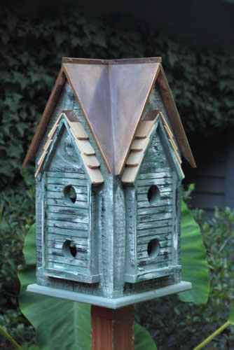 Copper Mansion Bird House Green W Brown Copper Roof