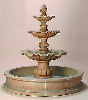Garda Three Tier Pond Outdoor Concrete Water Fountain