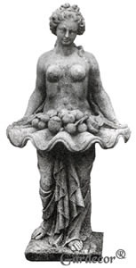 Classical Woman Offering Fruit on Shell Water Fountain Statue