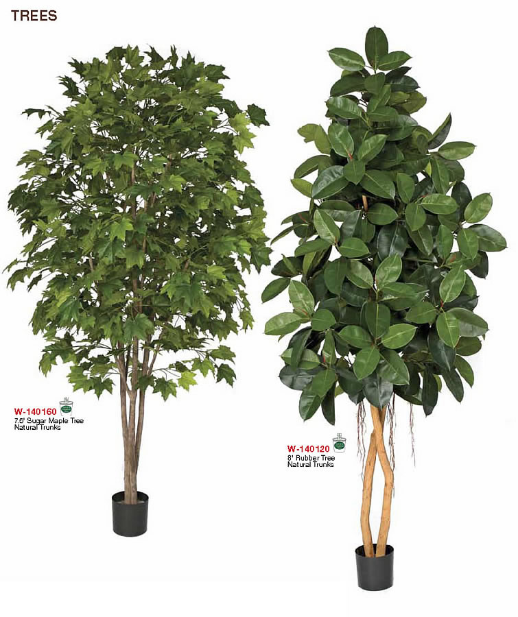 Tall Indoor Male Or Rubber Trees Artificial Indoor Trees