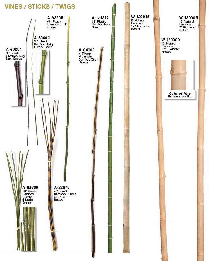 Fake bamboo sticks for decorating artificial branches