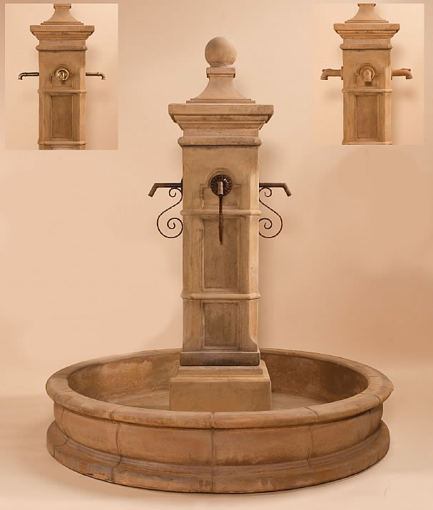 Aquitaine spout fountain with ground pool water fountains with ground pools - Decorative water spouts ...