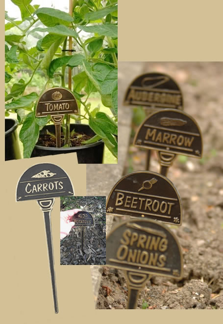 Charmant Brass Half Moon Vegetable Markers