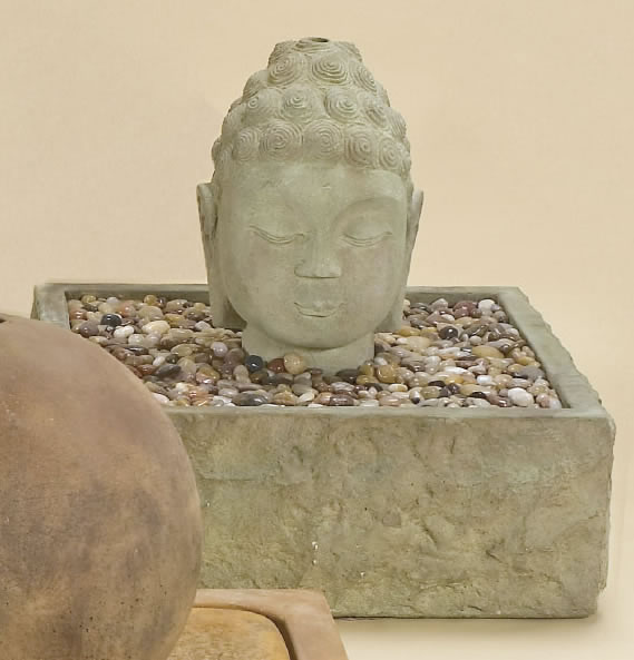 Large Buddha Head Fountain: Buddha Head Outdoor Water: Japanese Garden Fountains