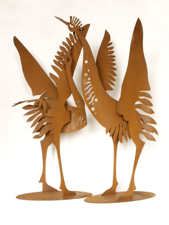 crane bird sculptures statue: winged garden statues
