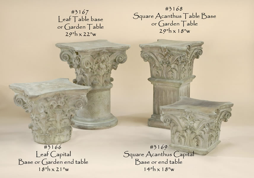Classical Garden Table and Pedestal Pedestals